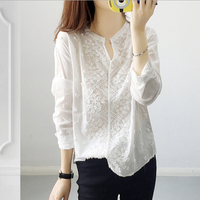 Wholesale And Retail 2017 European And American Fashion V Neck Blouse Long Sleeved Embroidery Snowflake White
