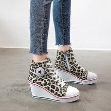 2019 New Canvas Leopard Women Shoes High Heel Wedges Pumps Luxury Shoes Women Platform Fashion Casual Zip Plus Size 35-43 цены онлайн