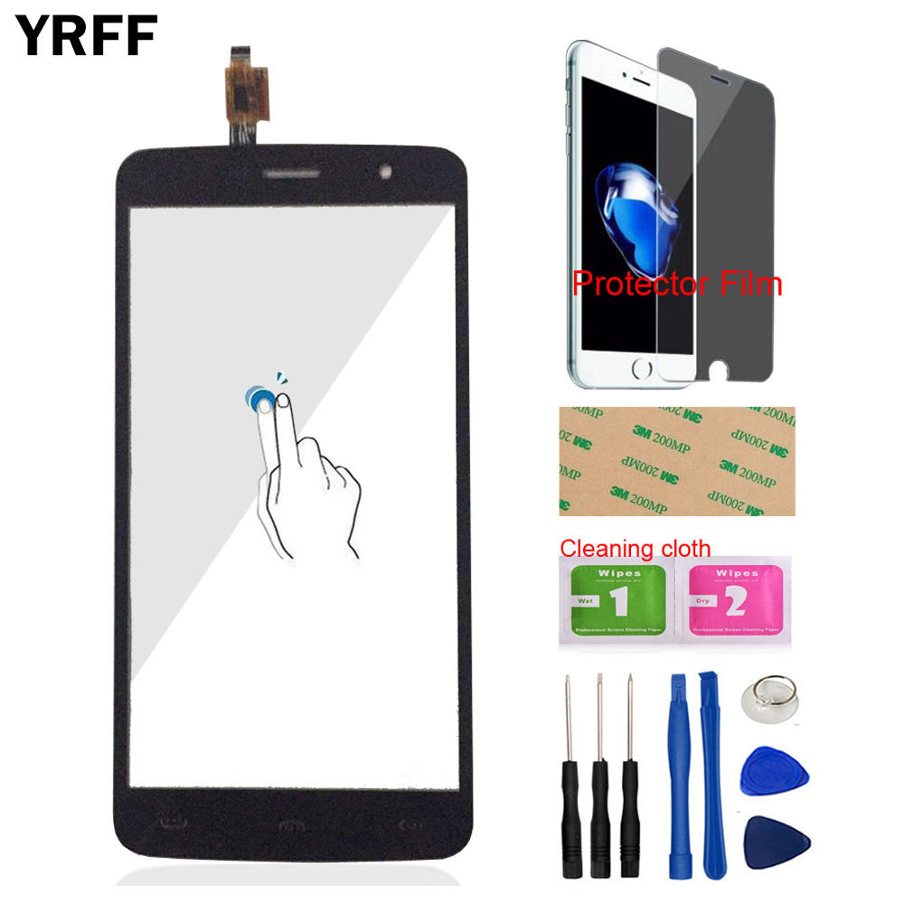 YRFF 5.5'' Mobile Touch Panel For HOMTOM HT17 Touch Screen Front Glass Panel Digitizer Sensor Tools Protector Film Adhesive