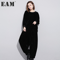 EAM 2017 New Winter Round Neck Long Sleeve Black Solid Color Velour Loose Wide Leg