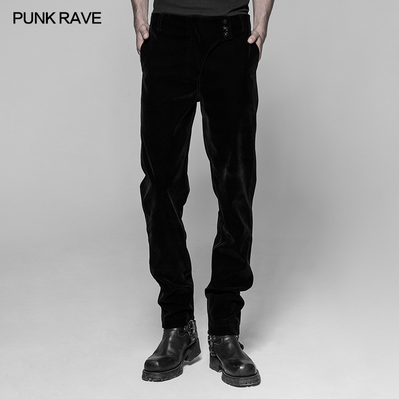 New Punk Rave Gothic Daily Gorgeous Black Weft Velveteen Retro Palace Victorian Men's Trousers Pants OK336