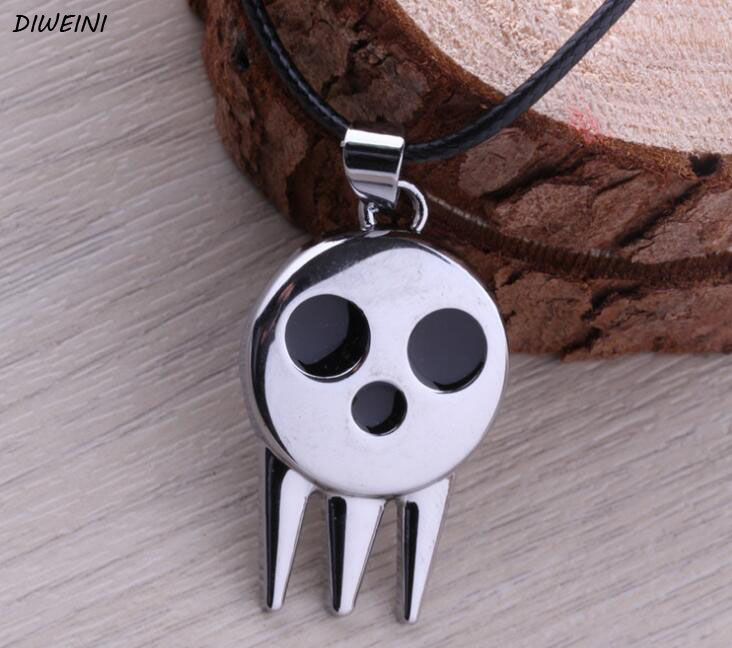 1 Pcs/set Hot Anime Soul Eater Death The Kid Skull Shape Pendant Necklace Chain Loose Pack Gift Toy Collection