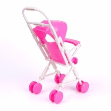 Children's toy Pink Assembly Baby Stroller Trolley Nursery Furniture Toys Baby carriage for Barbie Doll Accessories kids gift