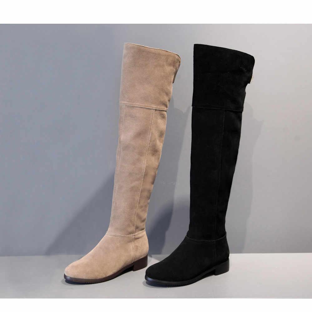 Uyluk diz üzerinde yüksek çizmeler çizmeler siyah kadın tam hakiki deri 3 cm topuk diz yüksek çizmeler kadın kış LIH02 MUYISEXI