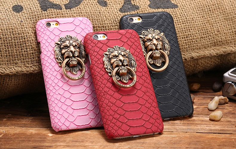 Hard Case with Metal Retro Lion Ring Holder for Iphone X 8 10 5 5s