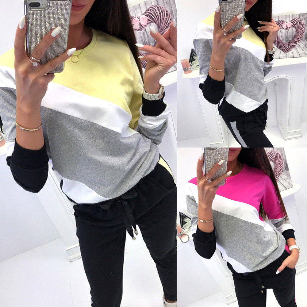 Female O Neck Knitted Hoodies Sweatshirt Pullover Backless Long Sleeve Color Stripe Wear Autumn Winter Plus Size Jumper