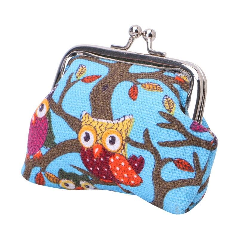 Lady Girl Multi-color Owl Design Canvas Coin Money Bag Purse Wallet Women