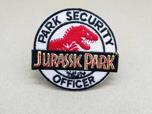 Jurassic Park Security Officer Iron On Patches Embroidery Appliques