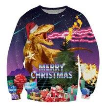 2016 neue männer frauen dinosaurier Santasaurus Rex Weihnachts drucken 3D sweatshirt hoodies high street hip hop freien plus größe S-XXL
