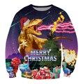 2016 nuevos hombres mujeres dinosaurios Santasaurus Rex navidad impresión 3D sudadera hoodies calle hip hop al aire libre más el tamaño S-XXL
