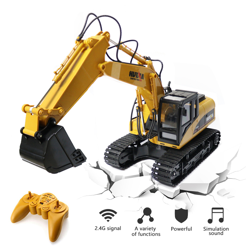 HUINA Toys 15 Channel rc excavator RC Remote-controlled car 2.4G 1/14 proportion excavator hydraulic rc crawler Toys for boys radio-controlled car