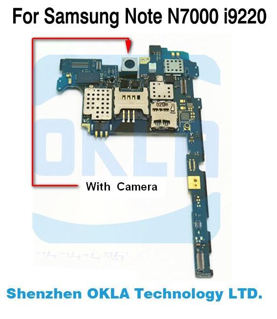imágenes para Placa base con la cámara de visión trasera para samsung galaxy note n7000 i9220 placa base placa lógica multi idioma hk versión europa