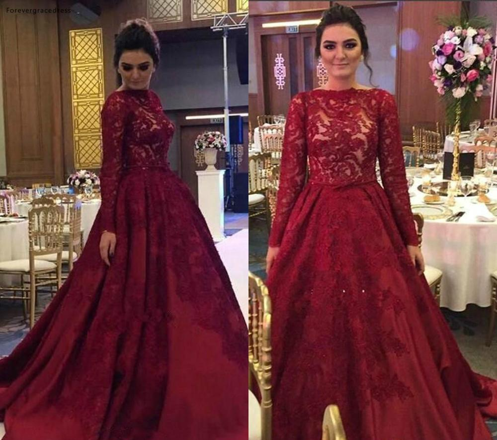 Burgundy   Evening     Dress   2019 Arabic Muslim A Line Lace Long Sleeves Holiday Women Wear Formal Party Prom Gown Plus Size