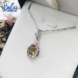 Image 3 - Bolai Color Changing Nano Diaspore Leaf Pendant Necklace Genuine 925 Sterling Silver Stone Fine Jewelry For Women Girls Gift