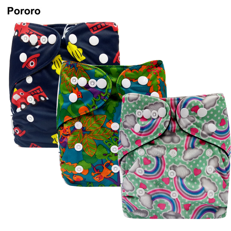 PORORO 3-15kg Adjustable Size Bamboo Charcoal Inner Pocket Diaper, Baby Reusable Cloth Diaper Nappies With Double Leg Gusset