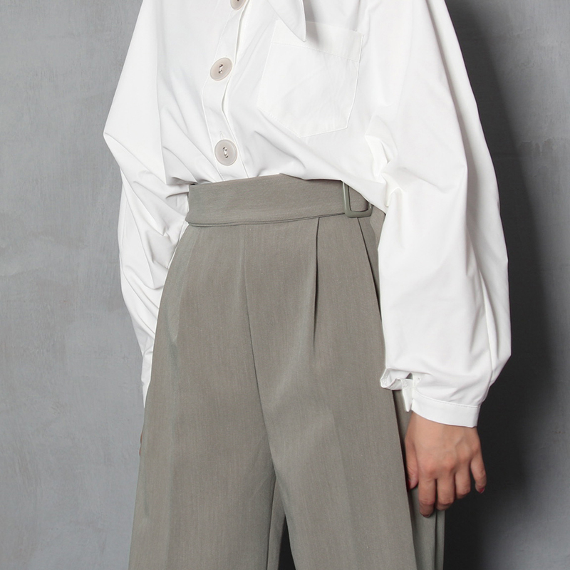 2019 Spring Woman   Wide     Leg     Pants   Full Length Fashion High Waist Casual Trousers Pockets