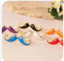 2016 Korean version of the retro fashion exquisite crystal sexy hot color mustache double finger ring free shipping Ms.