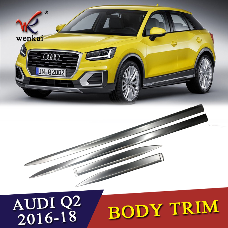 Car Styling Sliver ABS 4pcs Sequins For Audi Q2 2017 2018 Chrome Door Side Body Molding
