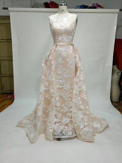 Einfache elegante sleeveless champagner spitze hochzeitskleid mit ...