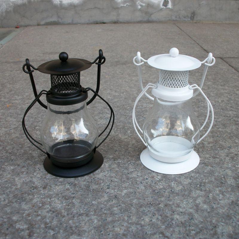 Style européen En Verre De Fer Lanterne Bougie Kérosène Lampe Chandelier Ameublement Décoration Creative Bougeoirs Applique