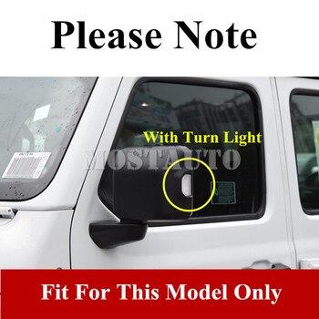 Miroirs Encadrés D'argent | Pour Jeep Wrangler JL ABS Chrome Rétroviseur Cadre Revêtement D'habillage 2018-2019 2 Pièces Argent/noir