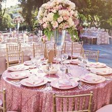 B·Y  Round Sequin Tablecloth 132inch-330cm Pink Gold Sequin Table Cover for Christmas Party Wedding decor-9531