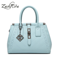 ZackRita 2017 Women PU Leather Solid Elegant Office Ladies Tote Large Handbag Shoulder Bag B17