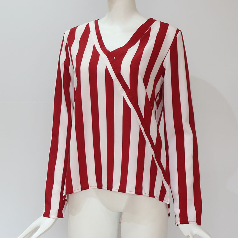 Women Striped Blouse Shirt Long Sleeve Blouse V-neck Shirts Casual Tops Blouse 54