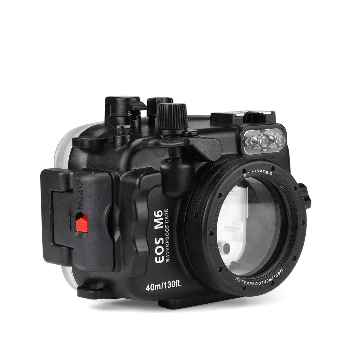 Boîtier sous-marin de caméra de 40 m/130ft de gens de mer pour le Canon EOS M6 22mm étui étanche de sacs d'appareil-photo d'objectif pour le Canon EOS M6 22mm
