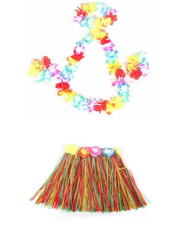 30 Sets 40cm Hula Grass Skirt Flower Hawaiian Headband Wristband Necklace Lei Garland for Children Fancy Dress Costume Free Ship
