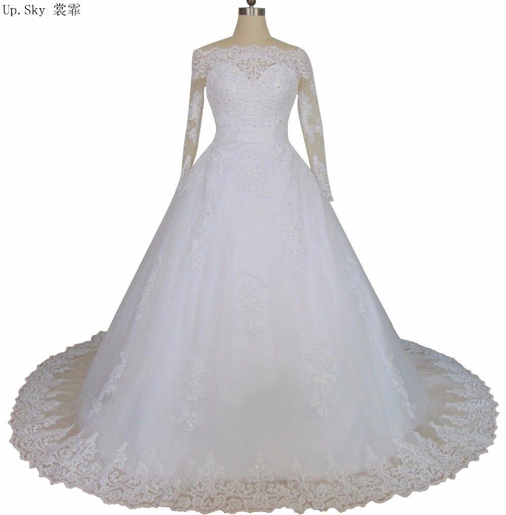 Buy vestido de noiva 2016 long sleeve for Boat neck long sleeve wedding dress