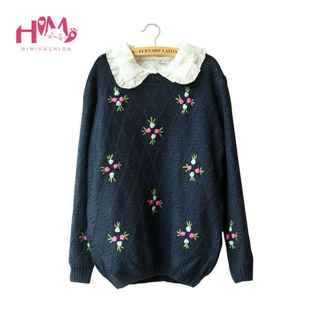 Japanese Autumn&Winter Tops Mori Girl All-Match Loose Sweet Knitted Floral Female Sweater Casual Long Sleeve Women Sweaters