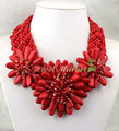 N15063004 turquoise coral flower handmade necklace earring set