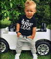 summer fashion sports suit tracksuit kids boy Short Sleeve black print T-shirt Tops+cotton Pants children clothing sets DY113C