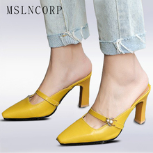 plus size 34-45 Summer Women Slipper Pointed Toe High Heels Ladies Slides Woman Fashion Mules Shoes Outside Pumps zapatos mujer bc women red suede crossed strap point toe pumps bottom high heels shoes woman plus size 5 14 zapatos mujer tacon sapato
