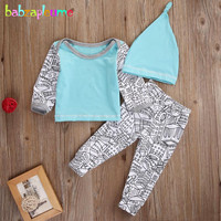 2017 Spring Infant Girl Clothing Newborn Set Baby Boy Outfits Children Tracksuit Toddler Outfits Hat Tops