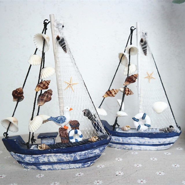 Wood Boat Craft Mediterranean Style Wooden Ship Model Diy Wedding Gift Nautical Decor Small Sailboat