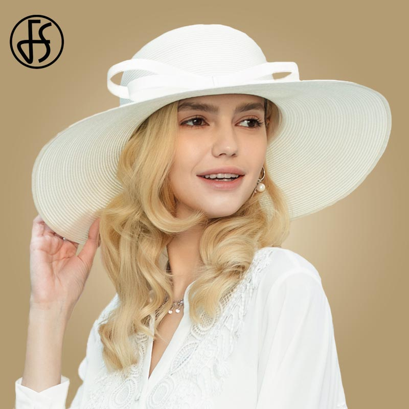 FS 2019 Women Summer Big Brim Hat White Church Dress Hat Lady Wide Bowknot Straw Cap