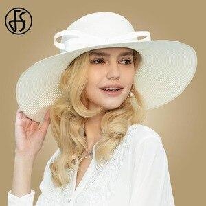 Image 1 - FS לבן קש כובעי נשים 2020 כובעי שמש קיץ גדול רחב שולי גבירותיי הכנסייה גדול חוף כובע פדורה Chapeau paille