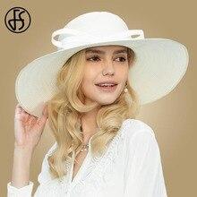 Sombreros de paja blancos FS para mujer 2020, sombreros de Sol de verano, ala ancha, sombrero de iglesia para mujeres, sombrero de playa, sombrero de paja grande