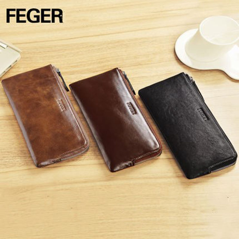 Genuine Leather Purse Cash Wallet Men Clutch Bag Coin Pocket Card Holder Vintage Male Wallet Multifunctional Mobile Wallet