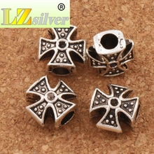 3Antique Silver Cross Big Hole Beads 11x11x6.5mm For European Bracelets DIY A3545
