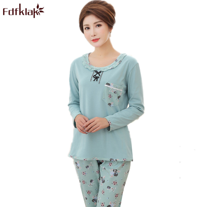 a24c911fbd Fdfklak M 3XL Plus Size Women Pajamas Set Spring Summer Long Sleeve Print Pyjama  Femme Coton Pijamas Ladies Sleepwear Q612-in Pajama Sets from Underwear ...