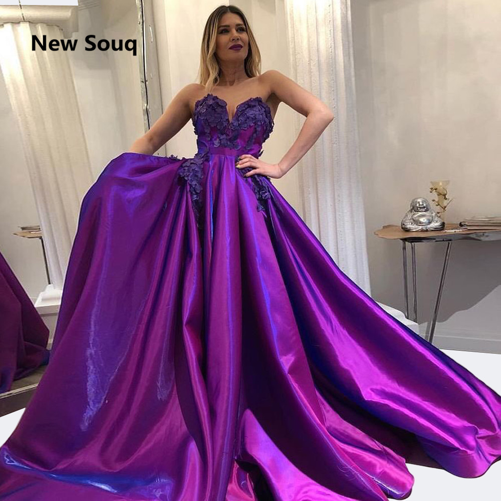 Shiny Purple A-Line Evening Dresses 3D Applique Sweetheart Backless Prom Dress Robe De Soiree Arabic Prom Party Gowns