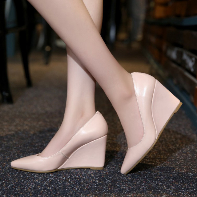 2016 Elegant Office Work Business Black Wedges Pumps For Women Pointy Toe High Heels Vintage