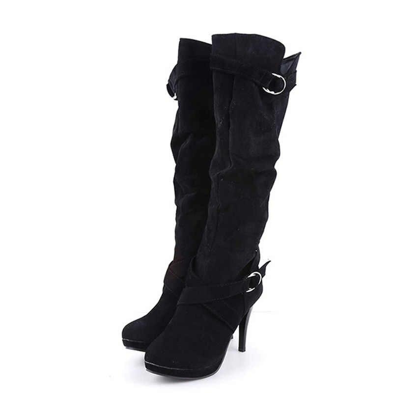 Altas coxa Inverno Botas de Camurça Do Falso das Mulheres De Couro De Salto Alto Sobre As Botas Do Joelho Mulheres Plus Size Shoes Mulher botas
