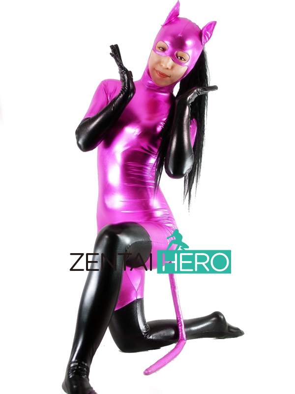 Free Shipping DHL Custom Made Fuchsia and Black Sexy Catwoman Superhero Zentai Suit Shiny Metallic Zentai Suit with Tail Ear
