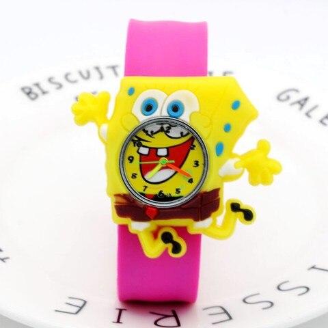 Cartoon SpongeBob kids watches children toy watches 3D eye Loop student clock kid Quartz Wristwatches Girls Boys baby gift Multan