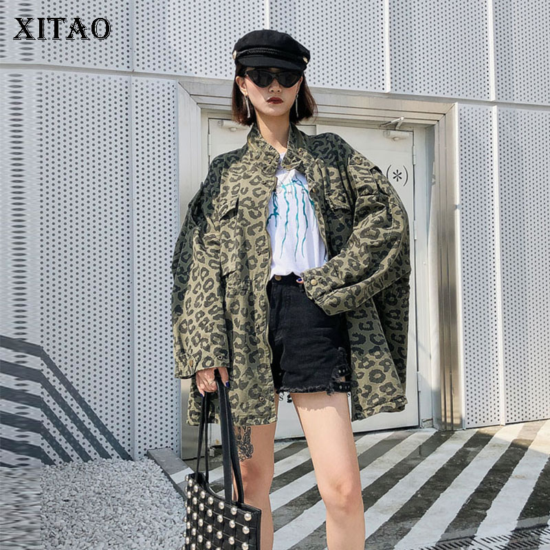 XITAO Personality Waist Slim   Trench   Patchwork Pocket Leopard Turtleneck Collar Match All Coat Top Clothes 2019 Autumn WLD2376