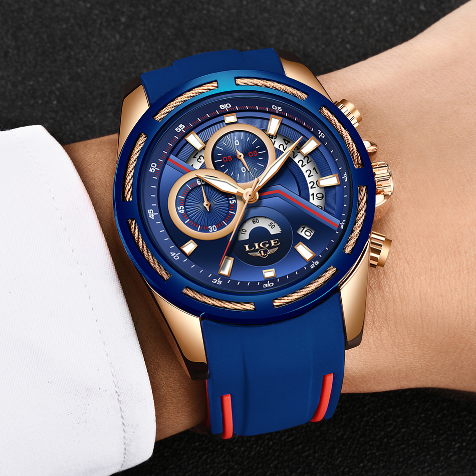 Relogio Masculino LIGE Hot Gift Men Watches Brand Luxury Silicone Strap Waterproof Sport Quartz Chronograph Military Watch Men